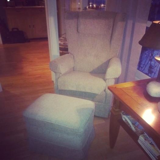 Ørelappstolen trekt i tekstilet Nordfjord