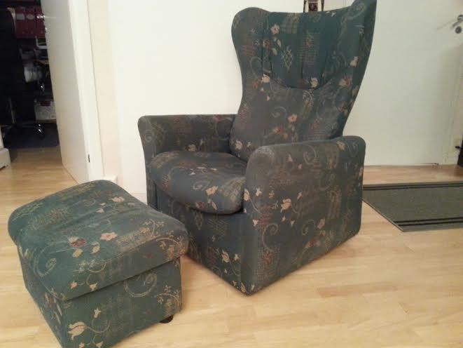 Gammel og sliten ekornes stol